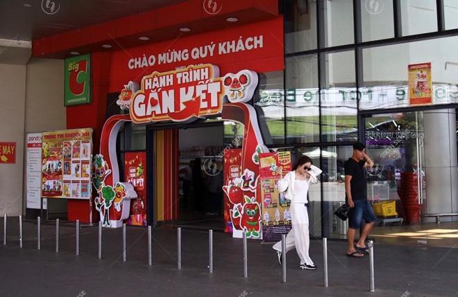 thi công cổng chào siêu thị