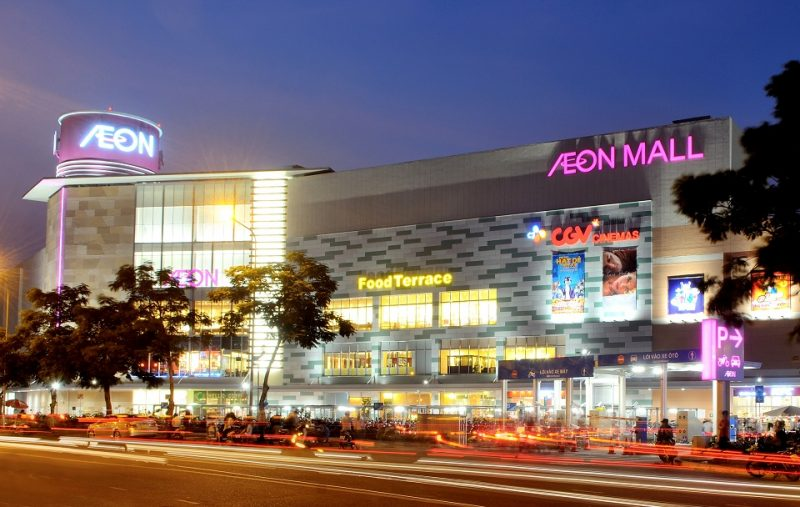Quảng cáo trên thang cuốn siêu thị Aeon Mall